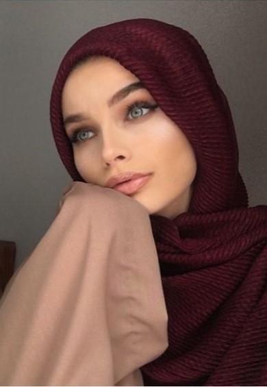 Hijab Plissé Rouge