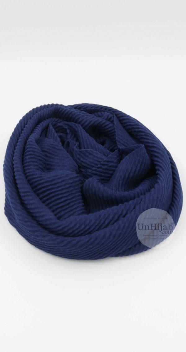Hijab Plissé Careena bleu marine
