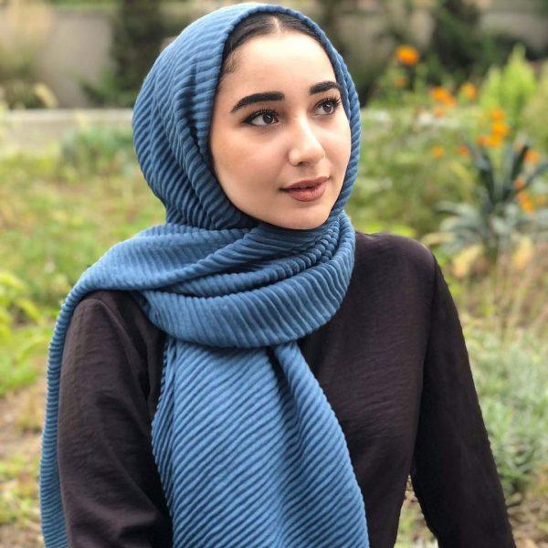 Hijab Plissé bleu